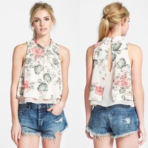 ASTR the Label | Mock Neck Layered Floral Tank